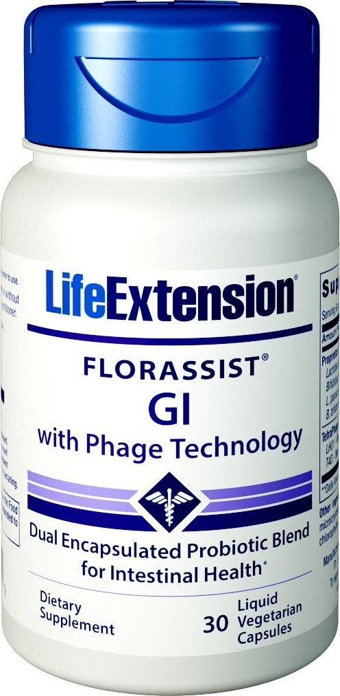 Life Extension Florassist Gi with Phage Technology 30 Liquid Vegetarian Capsules by Life Extension