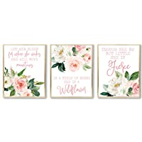 Blush Floral Quote Nursery Art Prints - Though She Be But Little She Is Fierce -...
