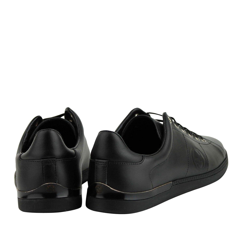 0f7587e6348 Amazon.com  Gucci Women s Black Leather Sneaker with Interlocking G Emblem  329841 1000  Shoes