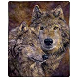 "Lavish Home B-Wolfpair Heavy Fleece Blanket with Pair of Wolves Pattern (74"" x 91""), 66 by 33'', Multicolor"