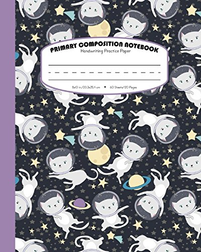 Primary Composition Notebook Handwriting Practice Paper: Dashed Midline - School Exercise Book For Writing Lessons | 100 Lined Pages | Starry Galaxy - Purple (Cats In Outer Space Journal Series) ()