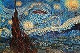 UFO Sighting On A Starry Night Vincent Van Gogh Humor Art Poster 24x36