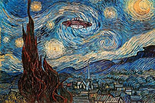 UFO Sighting On A Starry Night Vincent Van Gogh Humor Art Cool Wall Decor Art Print Poster 24×36