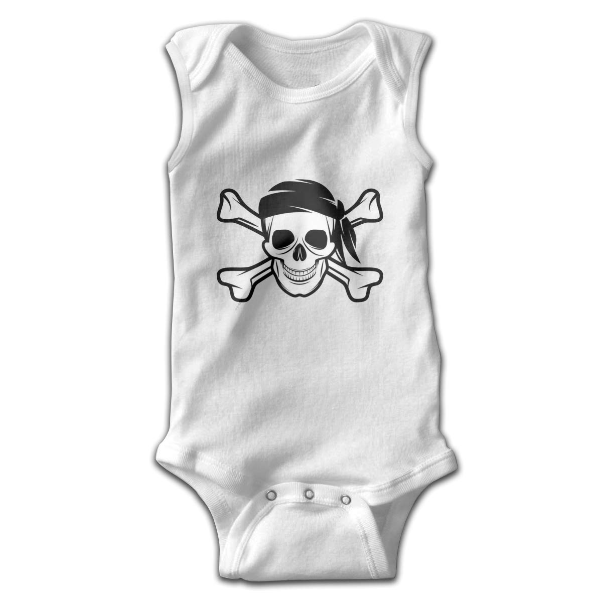 Dfenere Pirate Skull Newborn Baby No Sleeve Bodysuit Romper Infant Summer Clothing Black