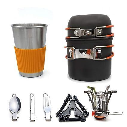 Estufa de gas para acampar, olla, vajilla, utensilios de cocina, olla para