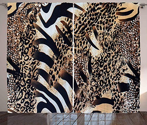Beaded Leopard Shade - LQQBSTORAGE Zambia Curtains,Safari Wild Striped Zebra and Leopard Pattern Camouflage Tropical Graphic Shades Window Treatment Valances Curtains 2 Panel Set W72 x L108/Pair Black Sand Brown