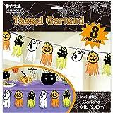 Halloween Tassel Garland - Decorative & Colorful Pumpkins, Cats & Ghosts - Festive Tissue Tassels - Perfect for Halloween Decor - 8 feet Long