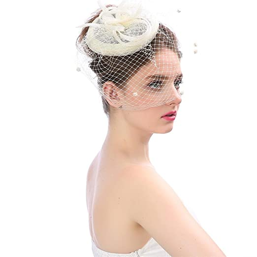 f2b594a8 Clearance! Auwer Women's Vintage Flower Feather Mesh Net Fascinator Hair  Clip Hat for Party Wedding