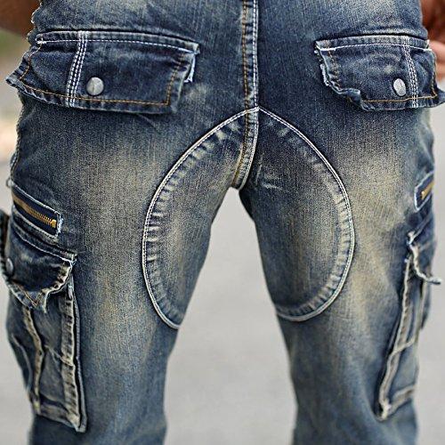Cerniere Jeans Idopy Blu Annata Motociclista Pantaloncini Uomini Con Degli Denim Carico Di wwq41z0T