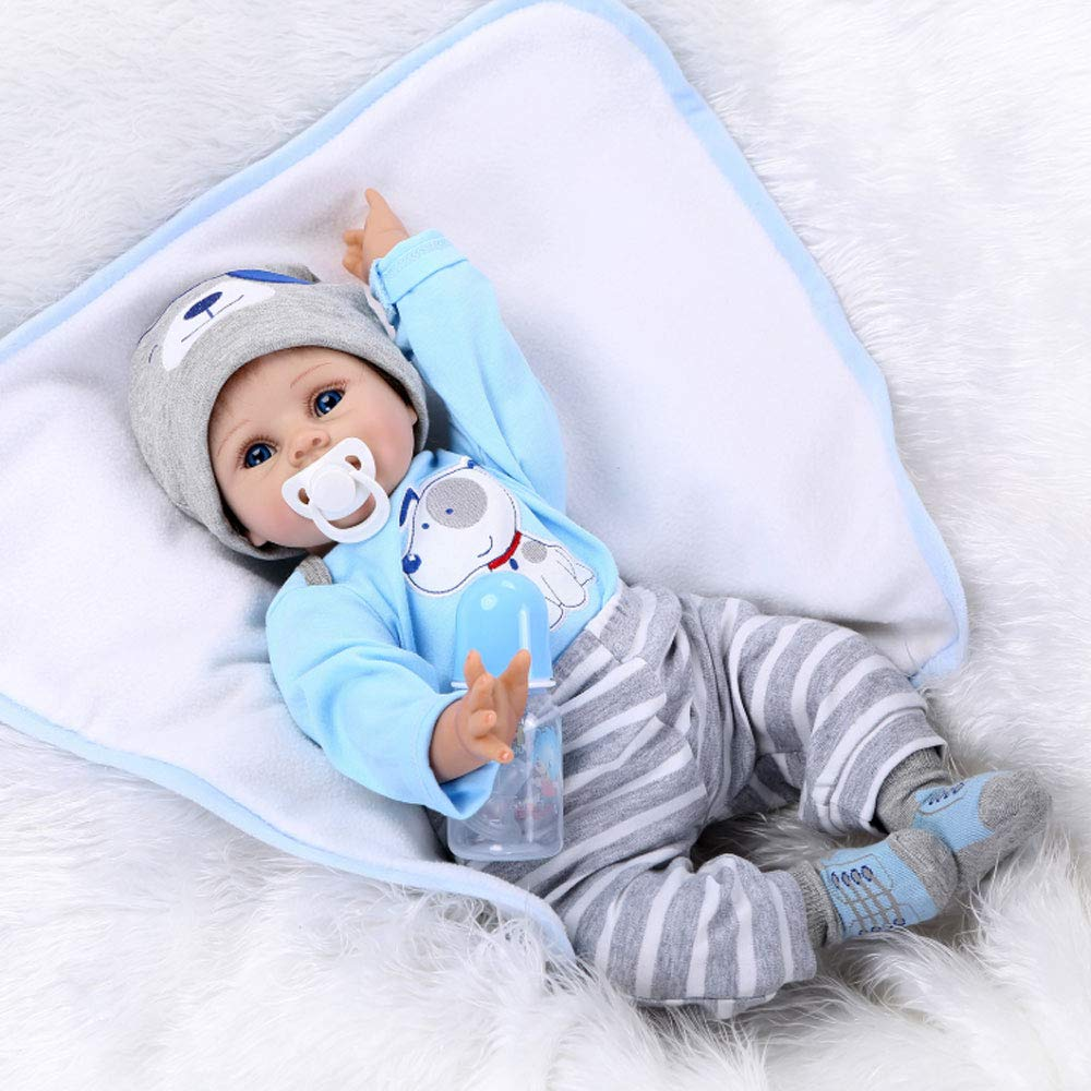 IGRARK NPKDOLLS Reborn Baby Doll Soft Silicone Silicone Silicone Vinyl Baby Boy 22inch 55cm Magnetic Mouth Cute Boy Wearing Toy Blau Dog Cute doll Gift Set for Ages 2+ (22INCH) 6b54e8