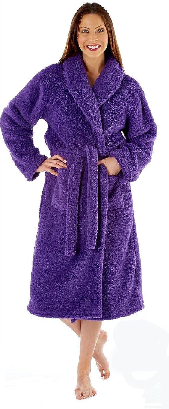 Ladies Fleece Dressing Gown Luxury Robe Navy Blue Pink Purple - Size ...