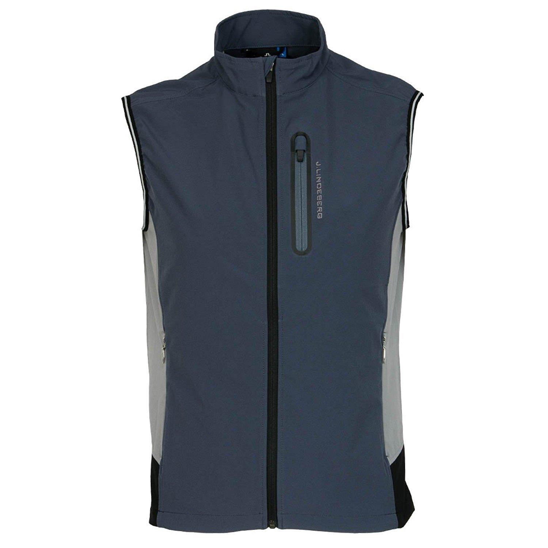 J.Lindeberg Men's Stretch Vest JL Soft Shell, Dark Grey, L