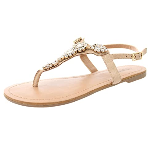 20d72910a ICCASU DUNION Women s Crystal Decor Ankle Strap Thong Sandal
