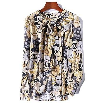 Mayihang Blusa Camisa Impreso Seda Blouse Stitching Cat Mangas Largas,Imagen,S DE COLOR
