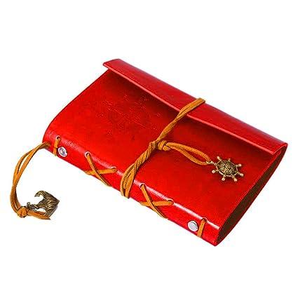 LAAT - Cuaderno de notas para viaje, agenda retro 18,5 cm x 13,5 cm rojo