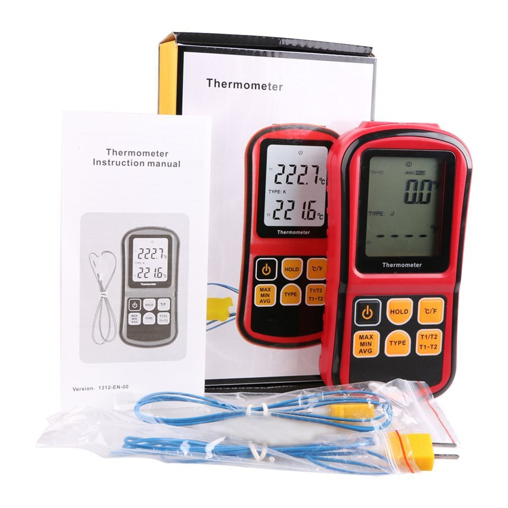 RGBS doble canal term/ómetro digital con dos K- tipo termopares Temperatura Medidor con LCD Retroiluminaci/ón para K//J//T//E//R//S//N termopar la agricultura Meteorolog/ía para la industria
