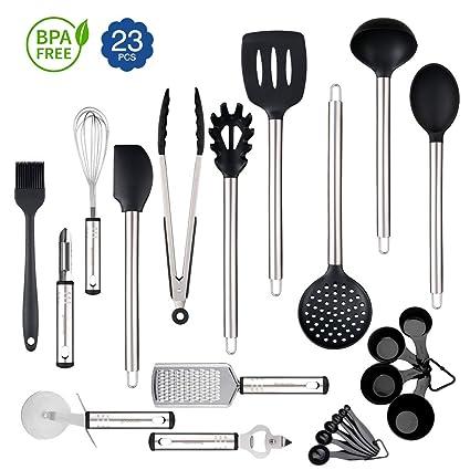 Rackaphile - 23 Piezas Utensilio de Cocina Silicona, utensilios cocina juguete, Certificación de FDA, para Sartén antiadherente, Utensilio Silicona y ...