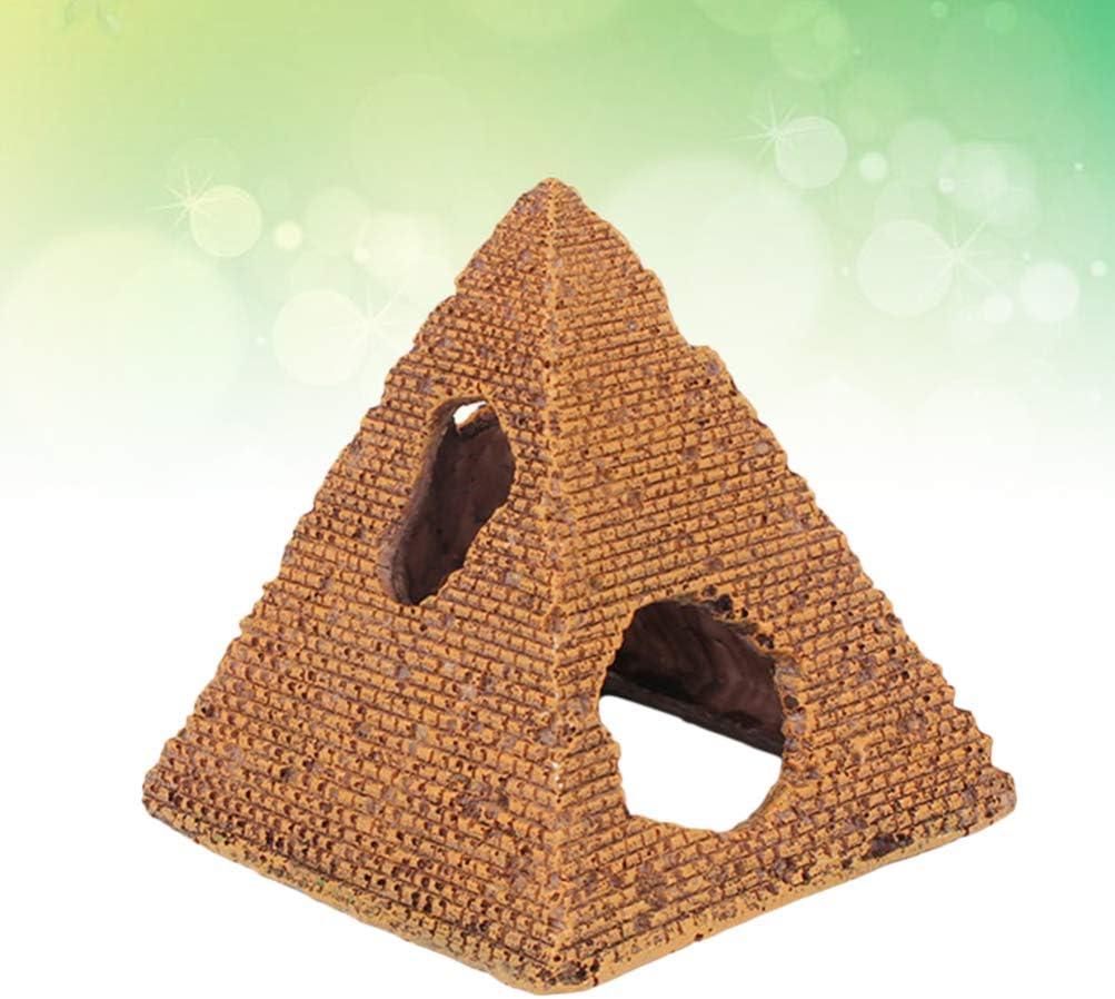 Balacoo Acquario Decorazione Piramide Artificiale Resina per Pesci gamberetti Habitat Acquario Decorazione del Paesaggio Taglia s