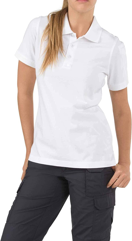 5.11 Women's Tactical Short Sleeve Polo Shirt, White, Large