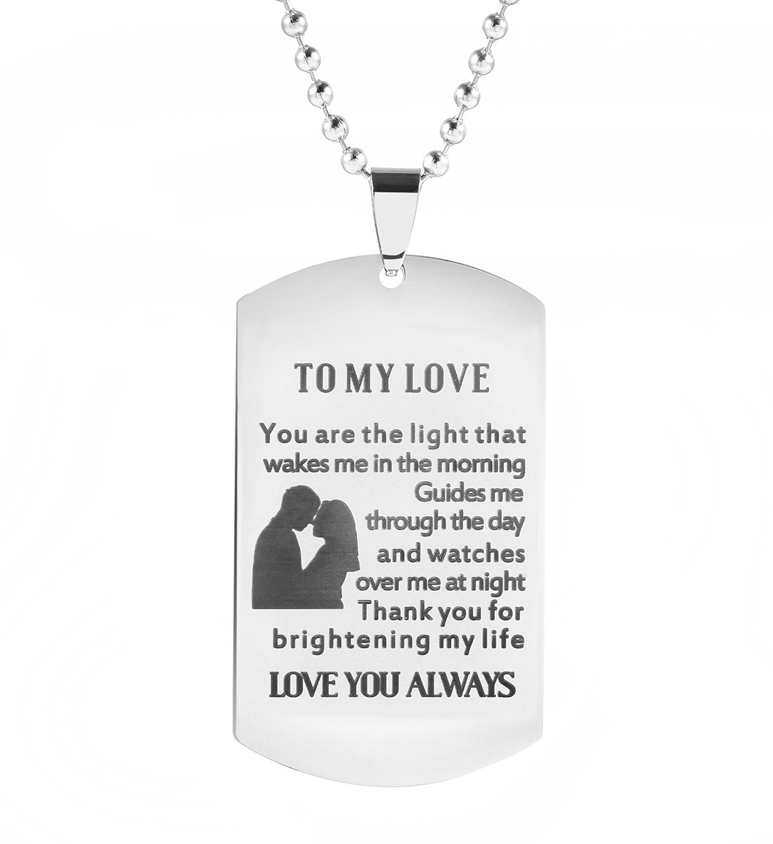 Meibai Girlfriend to Boyfriend Wife to Husband Gifts Engraved Dog Tags Pendant Necklace Keychain for Him (NECKLACE-1)