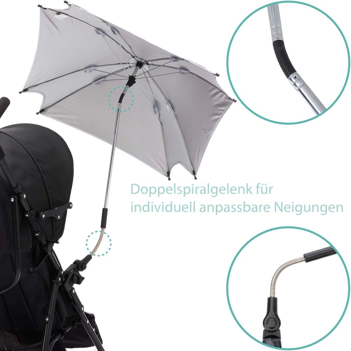 XL SONNENSCHIRM f/ür Kinderwagen und Buggys UV-SCHUTZ 50 PINK Schirm WASSERDICHT