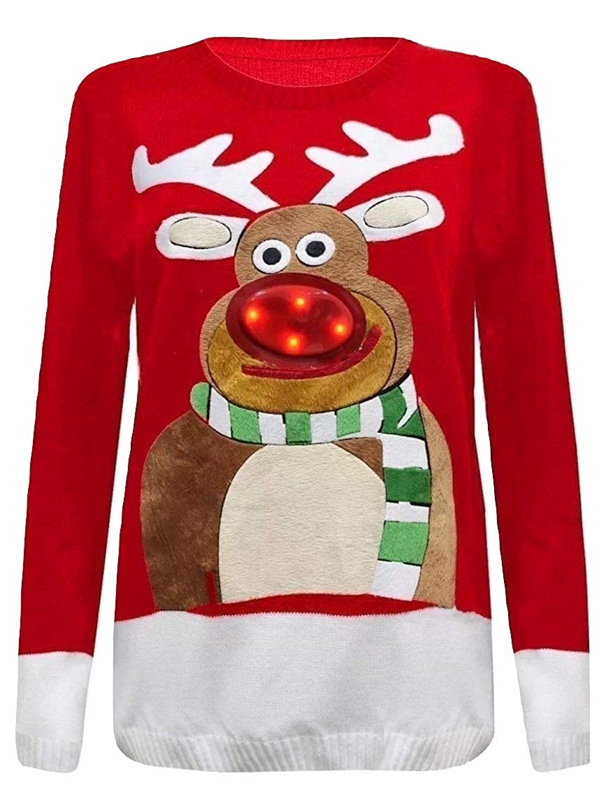 Momo&Ayat Fashions Ladies Ugly Christmas Rudolph Clignotant Christmas Jumper EUR Taille 36-50