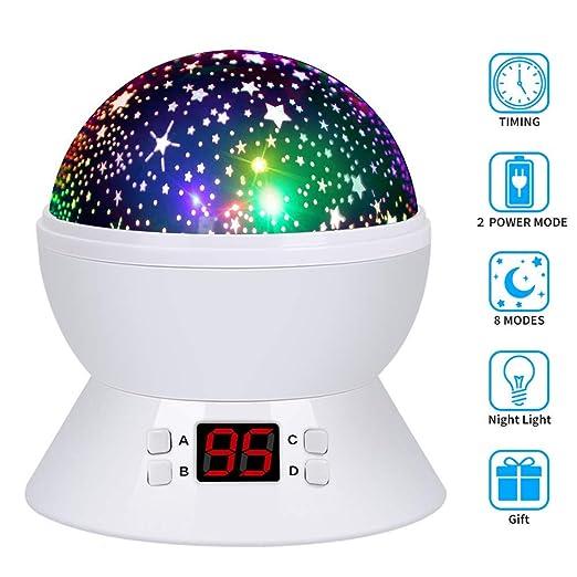 Lámpara de Proyector Estrellas, Lámpara de Noche con Temporizador, 360 Grados Rotación Proyector 4 LEDs 8 modos de luz, 2 fuentes de alimentación ...