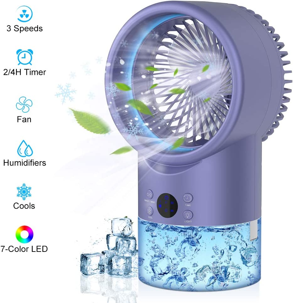 Uvistare Portable Air Conditioner Fan, 3-in-1 Evaporative Cooler, Personal Air Cooler with 3 Speeds & 2 Spray Modes, 2/4H Timer Cooling Fan for Home, Kitchen, Bedroom, Office Product Name