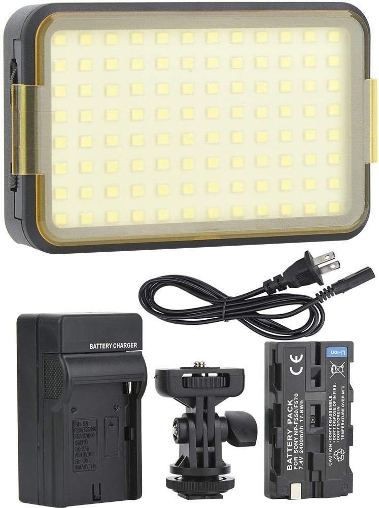 US Serounder LED Video Light Kit,Portable 96LED 3200-6000K Color Temperature 1350Lm Camcorder Photography Fill Light Set with Battery,Charger for Camera,Light Stand Support 50000 Hour Lamp Life
