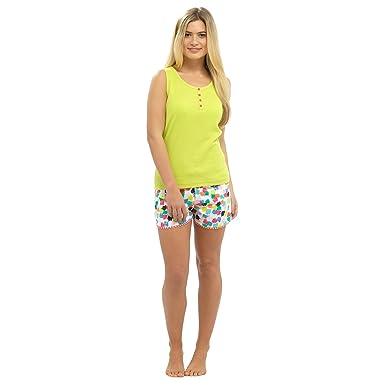 6a1d0a191e Ladies Tropical Cotton Summer Pyjamas Lime Vest Top   Multi Shorts Set UK 16 -18