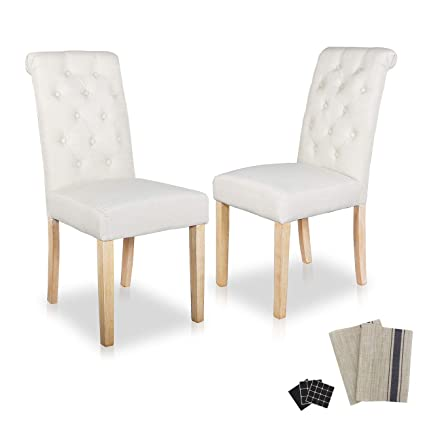 Dining Chairs Modern Furniture Leisure Padded Fabric Upholstered Padded  Stylish Button Upholstered Fabric Dining Room Chairs with Solid Wood Legs  Set ...
