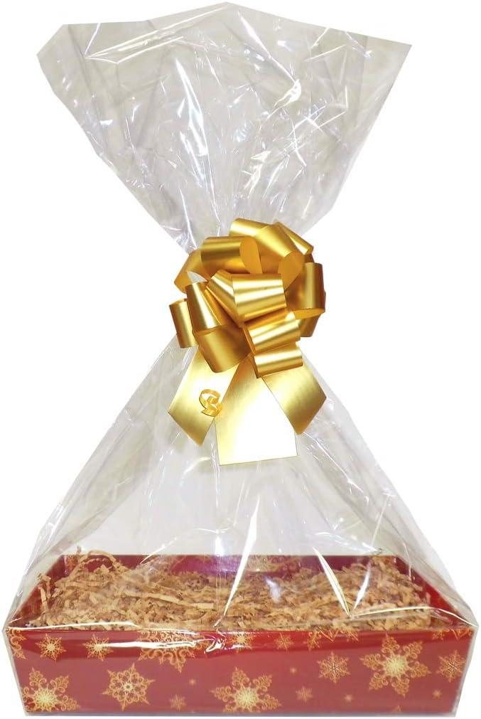 XMAS Red Gold Snowflake Cardboard Tray Bow /& Cello Bag Medium 30cm Shred Jaffa Imports GOLD DIY Basket Hamper Kit