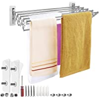 Mai Hongda Accordion Wall Mounted Drying Rack Stainless Steel Clothes Retractable Folding Accordian Wall Hanger Hanging Towel Holder 60lb Capacity for Laundry Bathroom No Drilling SFQ-4480X