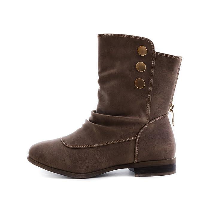 Damen Schlupf Stiefeletten Boots in Lederoptik mit Reißverschluss:  Amazon.de: Schuhe & Handtaschen