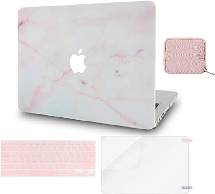 LuvCase 4 in 1 Laptop Case for MacBook Air 13 Inch A1466 / A1369 (No Touch ID)(2010-2017) Hard Shell Cover, Pouch, Keyboard Cover & Screen Protector (Pink Marble)
