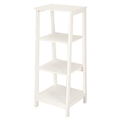 Adeco Simple Home Living Room Bed Bookcase Book Shelf White Ivory