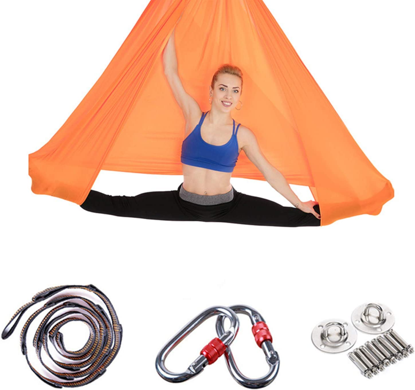 Aerial Yoga Hammock Set, Yoga Swing with Ceiling Mount and Adjustable Daisy Chains Strap, Inversion Exercise Tools for Beginners and Professionals, for Home and Studio (Orange) : Sports & Outdoors