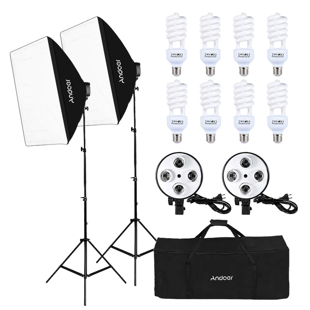Andoer Studio Photography Lighting Kit Portrait Product Light Video Equipment (Softbox + 5in1 Light Socket + 10pcs 45W Bulb + Tripod Stand + Carrying Bag)