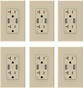 (Glossy Light Almond) ELEGRP USB Charger Wall Outlet, Dual High Speed 3.6 Amp USB Ports, 20 Amp Duplex Tamper Resistant Receptacle Plug NEMA 5-20R, Wall Plate Included, UL Listed (6 Pack)