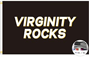 Danny Duncan Virginity Rocks Flag,3x5 Feet Banner,Funny Poster UV Resistance Fading & Durable Man Cave Wall Flag with Brass Grommets for College Dorm Room Decor,Outdoor,Parties,Gift,Tailgates (Black)