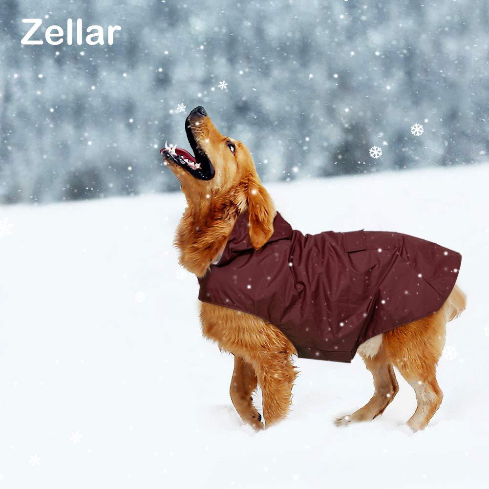 4XL Zellar Dog Raincoat with Hood,Collar Hole 100/% Waterproof Ultra-Light Breathable Rainwear Rain Jacket with Safe Reflective Strips for Medium to Large Dog Red