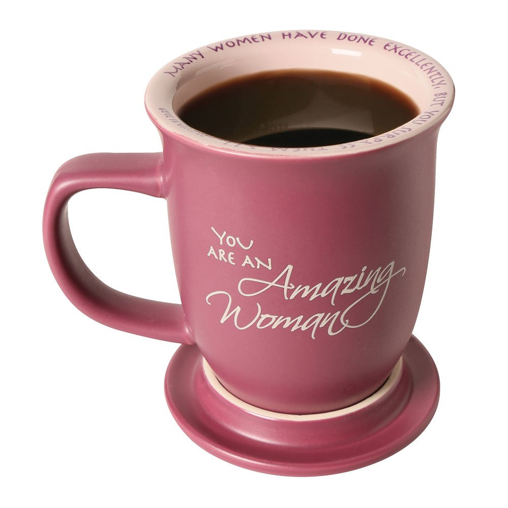 Amazing Woman Mug And Coaster/Lid - Ceramic - Large 14 Ounce Coffee Or Tea Cup - Dusky Purple by Abbey Press (Image #3)