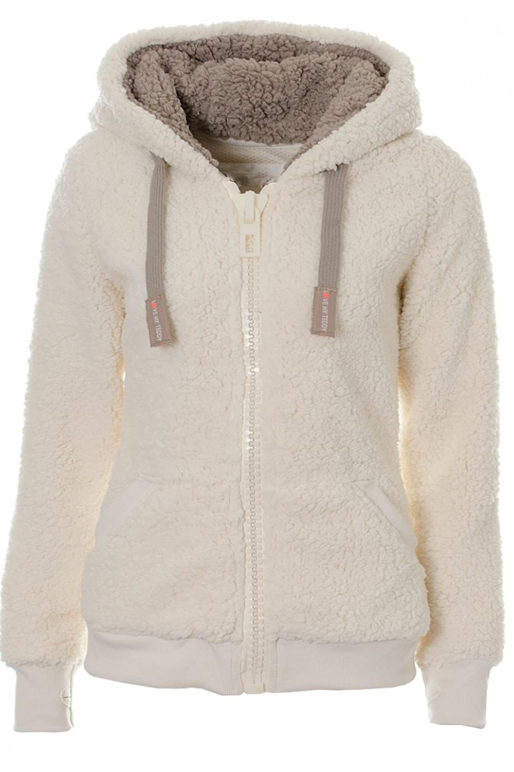 Ladies Womens Soft Teddy Fleece Lined Faux Fur Hooded Cardigan ...