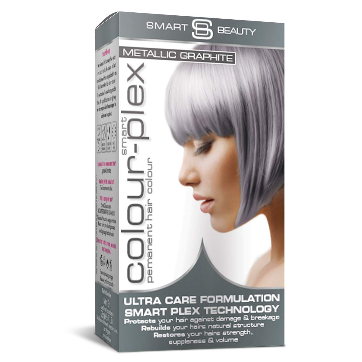 Metallic Graphite Grey Hair Dye | Permanent graphite Grey hair colour | Grey home hair colouring kit | Vegan hair dye | Cruelty free | Smart Beauty hair colours + Smart Plex anti-breakage technology