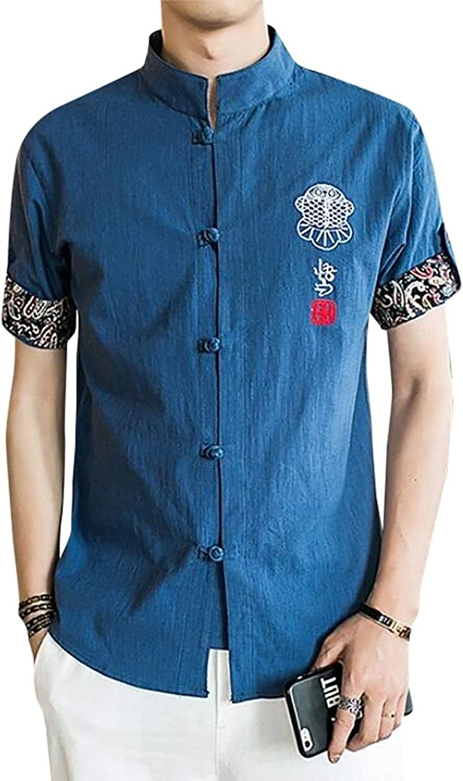 Male Classic Chinese Style Kung Fu Shirt Embroidery Tang Suit Blouse