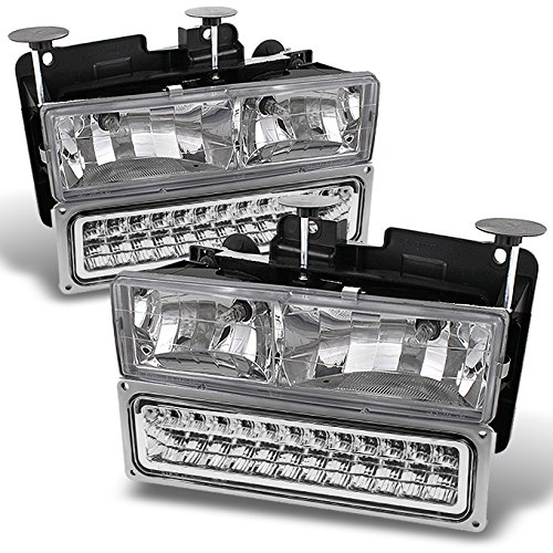 For Chevy GMC C/K Pickup Truck Suburban Tahoe Glass Lens Headlights + LED Bumper Signal Lamps set ()