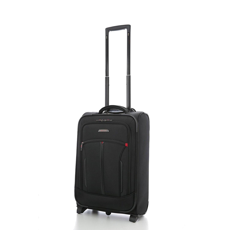 Aerolite 55x35x20cm IATA Handgepäck mit Notebookfach Vortasche für Notebooktasche - Zugelassen für Lufthansa, Air Berlin, Ryanair, Easyjet und BA, Schwarz