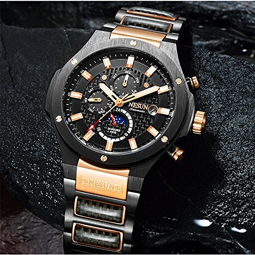 Men's Military Multifunction Automatic Mechanical Analog Stainless Steel Black Sports Luminous Watch (Rose Gold-Black) by NESUN (Image #1)