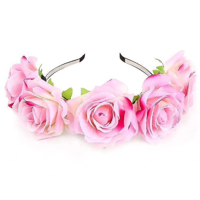 KQueenStar Fascia per capelli corona di fiori rosa per accessori per capelli  da sposa Festa Festival 529a39341186