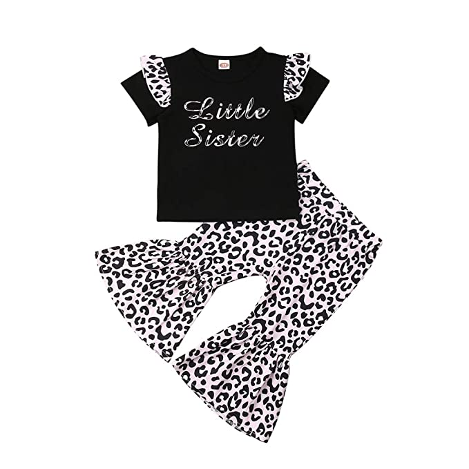5f720788117f3 Baby Girls Lace Off Shoulder Ruffle T Shirt Top+ Leopard Print Bell Bottom  Pant Outfits Sets